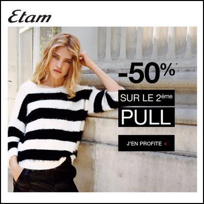 Bon Plan Etam : - 50 % sur le 2ème Pull - anti-crise.fr