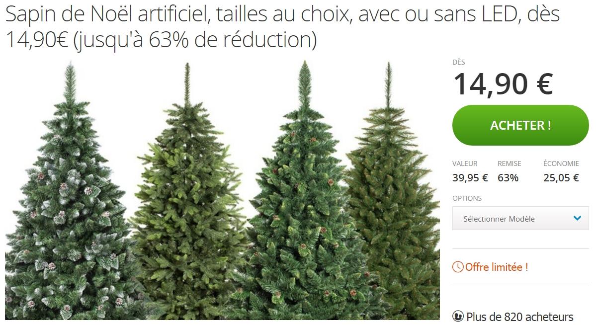 Deal Groupon sur les Sapins de Noël artificiels - jusqu'à 63 pour cent de réduction