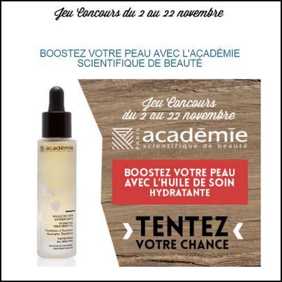 Instants Gagnants Confidentielles : Huiles de Soin Hydratante l'Académie scientifique de beauté à Gagner - anti-crise.fr