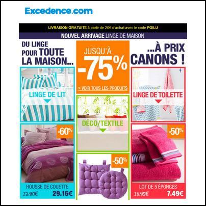 Bon Plan Excedence : Linge de maison à prix canons : jusqu'à - 75 % - anti-crise.fr