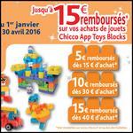 Offre de Remboursement Chicco : Jusqu'à 15 € sur les Jouets App Toys Blocks - anti-crise.fr