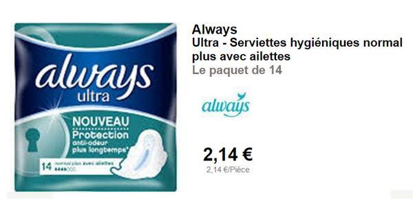 Bon Plan Always : Serviettes Normal Ultra presque Gratuites Partout - anti-crise.fr