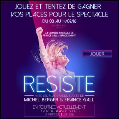"""Tirage au Sort Carrefour Spectacles : 2 Places pour le Concert """"Résiste"""" à Gagner - anti-crise.fr"""