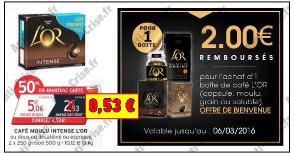 Bon Plan l'Or : Lot de 2 Cafés Moulus à 0,53 € chez Intermarché - anti-crise.fr