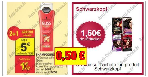Bon Plan Schwarzkopf : 3 Shampooing Gliss pour 0,50 € chez Auchan - anti-crise.fr