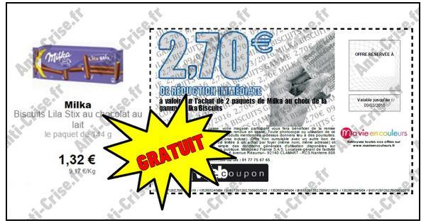 Bon Plan Milka : 2 Paquets de Biscuits Lila Stix Gratuits partout - anti-crise.fr