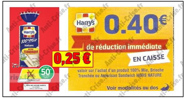 Bon Plan Harrys : 100 % Mie Nature à 0,25 € chez Intermarché - anti-crise.fr