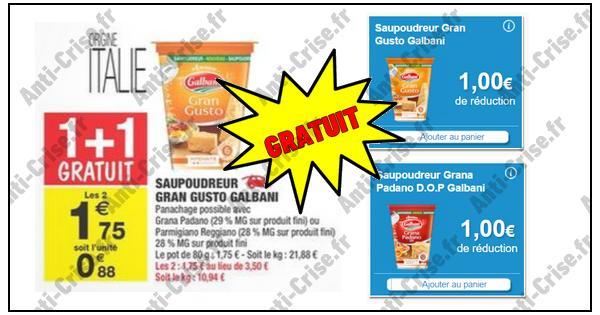 Bon Plan Galbani : 2 Saupoudreurs Gratuits chez Carrefour Market - anti-crise.fr
