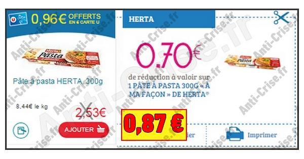 Bon Plan Herta : Pâte à Pasta à 0,87 € chez Magasin U - anti-crise.fr