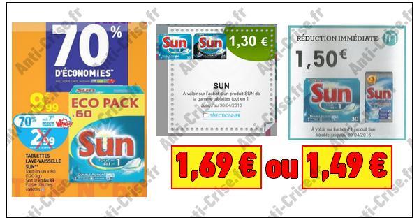 Bon Plan Sun : La Boîte de 60 Tablettes à 1,49 € ou 1,69 € chez Auchan - anti-crise.fr
