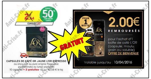 Bon Plan L'or : Boîte de 10 Capsules Gratuite chez Intermarché - anti-crise.fr