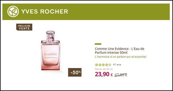 Bon Plan Yves Rocher : Comme Une Evidence - L'Eau de Parfum Intense à 23,90€ - anti-crise.fr