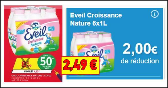 Bon Plan Lactel : Le Pack 6 bouteilles d'Eveil Croissance Nature à 2,49€ chez Intermarché - anti-crise.fr
