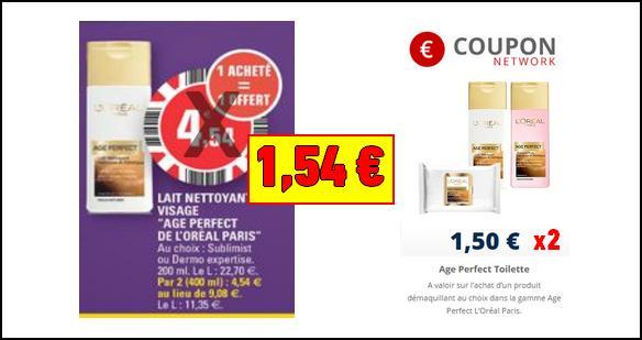 Bon Plan L'Oréal Paris : Lait Nettoyant Visage Age Perfect à 0,77€ - anti-crise.fr