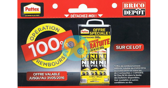 Offre de Remboursement Pattex Chez Brico Dépôt : 3 Cartouches Ni Clou Ni Vis 100% Remboursées - anti-crise.fr