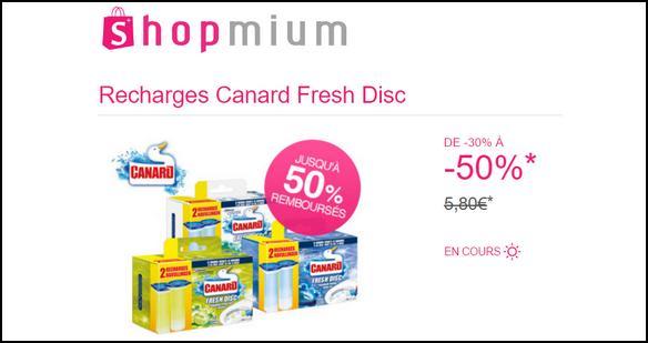 Offre de Remboursement Shopmium : Jusqu'à -50% sur les Recharges Canard Fresh Disc  - anti-crise.fr