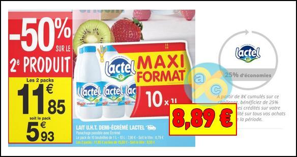 Bon Plan Lactel : Lait à 0,44€ le Litre chez Carrefour Market - anti-crise.fr