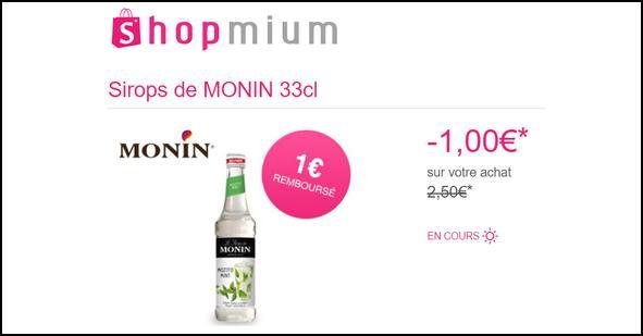 Offre de Remboursement Shopmium : 1€ sur les Sirops Monin - anti-crise.fr