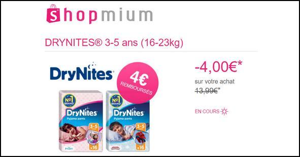 Offre de Remboursement Shopmium : 4 Offres sur les Sous-vêtements et Alèse DRYNITES® - anti-crise.fr