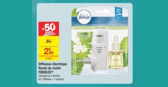 Bon Plan Diffuseur Electrique Febreze chez Carrefour - anti-crise.fr