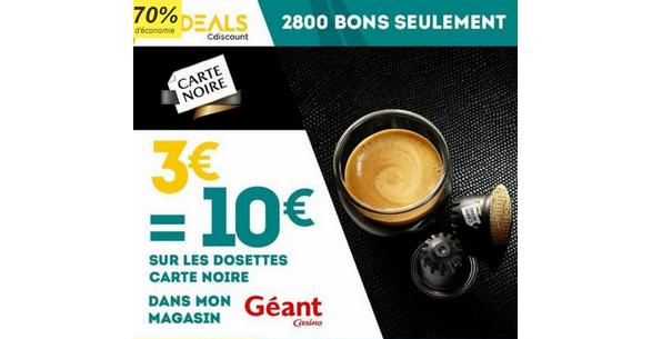 Bon Plan Cdiscount : 3€ = 10€ sur la toute les capsules Carte Noire chez Géant Casino- anti-crise.fr