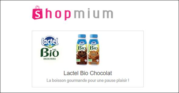 Offre de Remboursement Shopmium : 2 Offres sur Lactel Bio Chocolat - anti-crise.fr