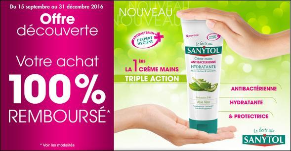 Offre de Remboursement Sanytol : Crème Mains Antibactérienne Hydratante 100% Remboursée - anti-crise.fr