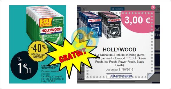 Bon Plan Hollywood : 2 Lots de 6 Paquets de Chewing-gums Gratuits chez Leclerc - anti-crise.fr