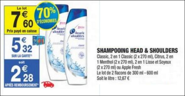 Bon Plan Shampoing Head & Shoulders chez Carrefour Market - anti-crise.fr