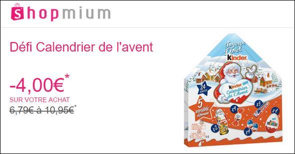 Calendrier De Lavent Kinder 343 G.Offre De Remboursement Shopmium Defi Calendrier De L Avent