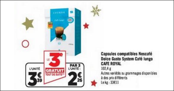 Bon Plan Capsules Café Royal pour Dolce Gusto chez Géant Casino - anti-crise.fr