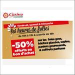 Bon Plan Casino : 50% sur Foies Gras, Paniers Gourmands, Bûches Glacées, Coffrets Parfums et Sapins - anti-crise.fr