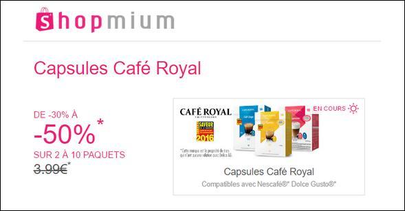 Offre de Remboursement Shopmium : Jusqu'à 50% sur les Capsules Café Royal pour Dolce Gusto - anti-crise.fr