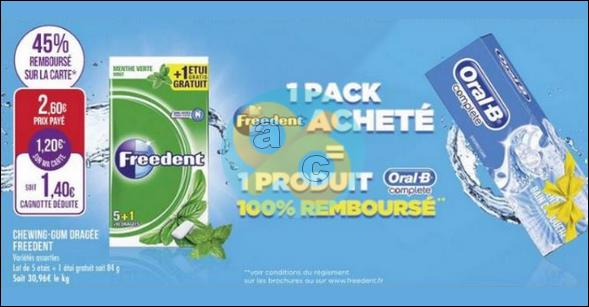 Bon Plan Chewing-gum Freedent / Dentifrice Oral-B Complete chez Match - anti-crise.fr