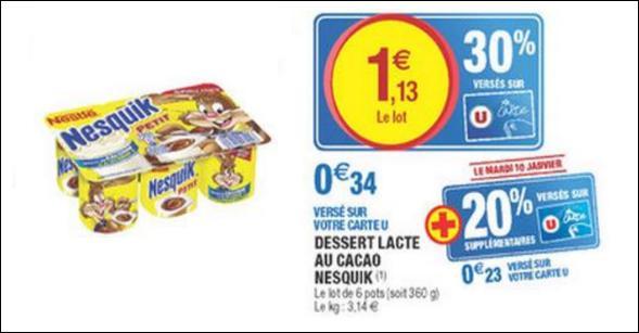 Bon Plan Dessert Nesquik chez Magasins U - anti-crise.fr