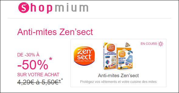Offre de Remboursement Shopmium : Jusqu'à 50% sur les Anti-mites Zen'sect - anti-crise.fr