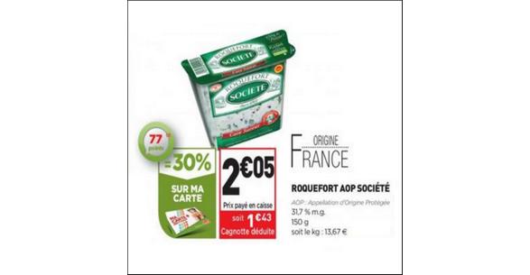 Bon Plan Roquefort Société Cave Saveur chez Simply Market - anti-crise.fr