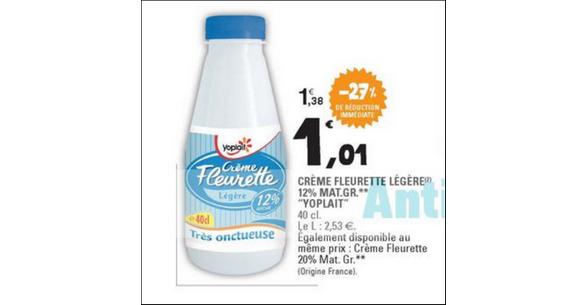 Bon Plan Crème Fleurette Yoplait chez Leclerc - anti-crise.fr