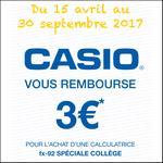 Offre de Remboursement Casio : 3€ Remboursés sur Calculatrice fx-92 Spéciale Collège - anti-crise.fr