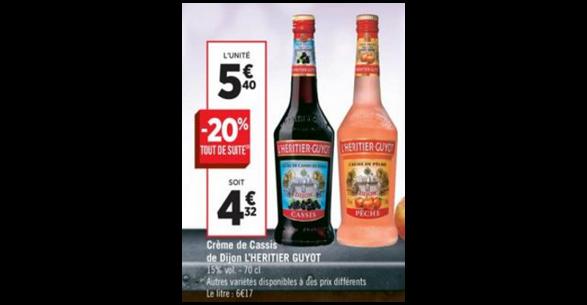 Bon Plan Crème de Fruit Héritier Guyot chez Géant Casino - anti-crise.fr