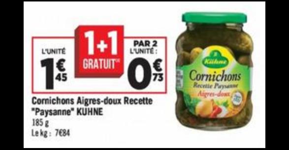 Bon Plan Cornichons Aigres-Doux Kuhne chez Géant Casino -anti-crise.fr