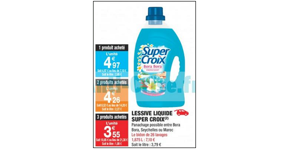 Bon Plan Lessive Liquide Super Croix chez Carrefour Market - anti-crise.fr