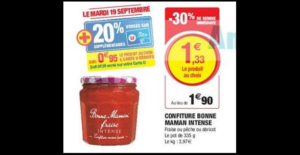 Bon Plan Confiture Intense Bonne Maman chez Magasins U - anti-crise.fr