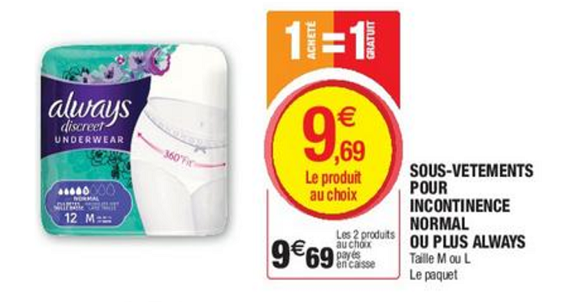 Bon Plan Culottes Always Discreet chez Magasins U - anti-crise.fr