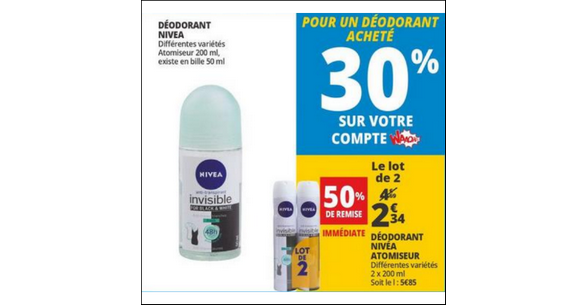 Bon Plan Déodorant Nivéa Atomiseur chez Auchan - anti-crise.fr