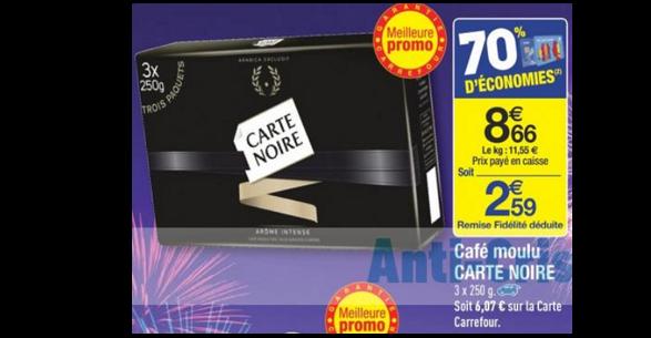 Bon Plan Café Moulu Carte Noire chez Carrefour - anti-crise.fr