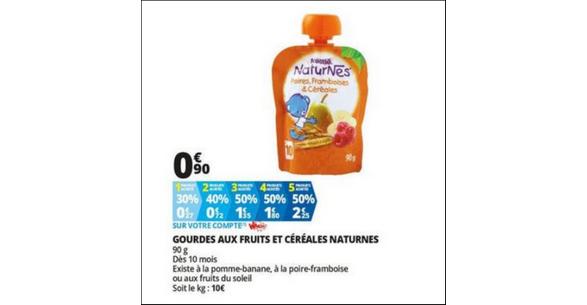 Bon Plan Gourdes aux Fruits et Céréales Naturnes chez Auchan - anti-crise.fr