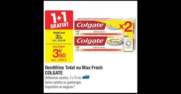 Bon Plan Dentifrice Colgate Total chez Carrefour (06/02 - 12/02) - anti-crise.fr
