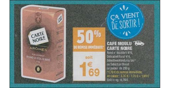 Bon Plan Café Moulu Carte Noire Arômes chez Carrefour Market - anti-crise.fr