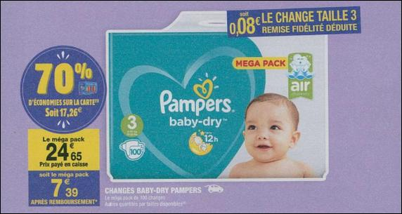 Bon Plan Couches Pampers Baby Dry chez Carrefour Market - anti-crise.fr